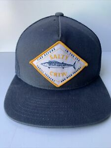 """SALTY CREW IN THE SEA HAT TRUCKER CAP BLUE YELLOW """"THE CLASSICS"""""""