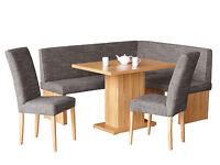 Moderne Eckbank 160x140 + Tisch + Stühle Kücheneckbank Essecke Kernbuche