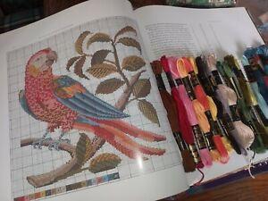 Elizabeth Bradley book X-stitch charts, cottons & aida 4 parrot & ptchwrk bundle