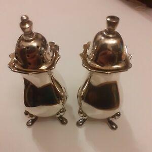 Pair of 1981 Birmingham Solid Silver Salt and Pepper Pots Maker JBC & Sons Ltd
