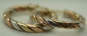 100% Genuine 9K Solid Yellow, White & Rose Gold Hoop Hollow Hoop Earrings 20mm