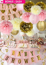 Baby Shower Decorations Girl Pink Gold Princess Floral Party Supplies Banner