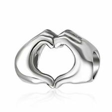 925 Sterling Silver Love Heart in Your Hands Charm for Charms Bracelets Valenti