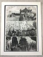1855 Lord Raglan Funerale The Crimea Guerra Britannico Militare Antico Stampa