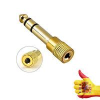 Adaptador Audio Jack Hembra 3,5mm a Jack Macho 6,3mm Metalico Dorado v530