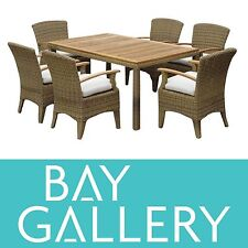 OUTDOOR DINING 6 SEAT TEAK TIMBER WICKER FURNITURE SET SETTING TABLE & CHAIRS