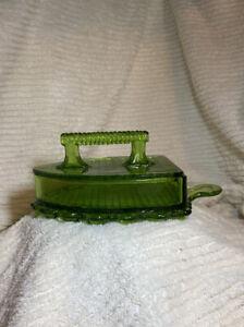 "VINTAGE L. G. WRIGHT emerald green GLASS FLAT IRON LIDDED CANDY DISH 9"" It Glows"