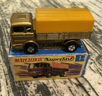 Matchbox Superfast No 1 Mercedes Truck Gold;yellow canopy;car in mint con; box.