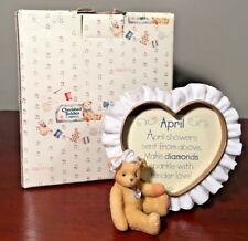 Enesco Cherished Teddies April BirthStone Photo Frame Collectible #311626