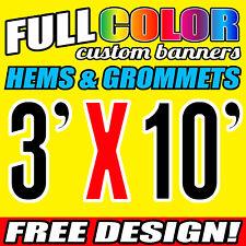 3' x 10' Full Color Custom Banner, 16oz Vinyl  FREE GROMMETS Free Graphic Design