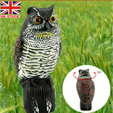 More details for realistic bird pigeon crow scarer scarecrow garden owl decoy with rotating head