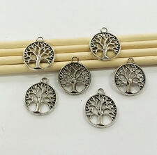 50PCS Vintage Antique Silver Tone Round Tree DIY Jewelry Finding Charm Pendant