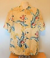 Island Republic Hawaiian Shirt L Beige Yellow Floral Button Short Sleeve Silk