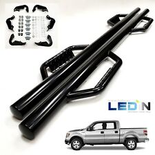 Side Dropped Step Nerf Bar For 09-14 Ford F150 F-150 Super Crew Cab Black Bars