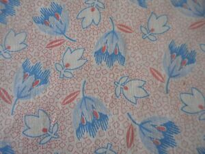"Antique Geometric Tulip Floral Cotton Fabric ~ Salmon Pink Red Blue. ~ 36"" x 30"""