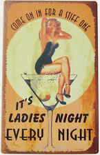 It's Ladies Every Night Pinup TIN SIGN martini poster vintage bar wall decor OHW