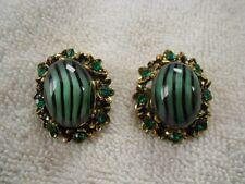 Vintage Black Striped Green Glass Clip Earrings Emerald Green Rhinestones