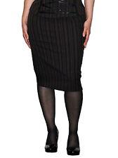Phaze Clothing Victorian Emporium Bitter Beauty Brown Pinstripe Pencil Skirt