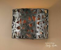 NEW RUST BLACK METAL STRAP WALL SCONCE LIGHT FIXTURE RUSTIC TUSCAN FABRIC LINER