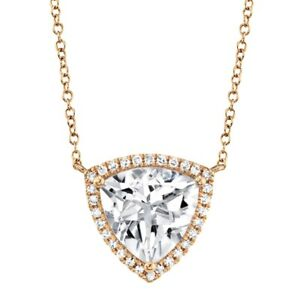 White Topaz Diamond Triangle Pendant 14K Rose Gold Trillion Necklace Womens