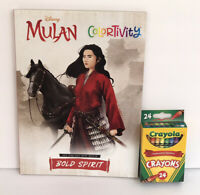 New 2 Disney Princess Mulan Colortivity Coloring Book & 24 Crayons