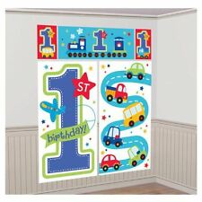 5 piece All Aboard Birthday Scene Setter Baby 1st Birthday Party Decorations