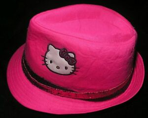 Girls Hat Sz Sm or Med Applique Hello Kitty Fedora Sequin Band Felt Hot Pink