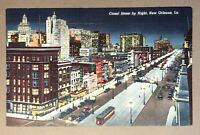 Vintage Linen Postcard CANAL STREET BY NIGHT  New Orleans LA Unposted 1B-H1197