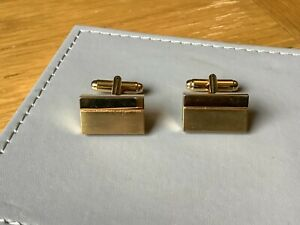 Vintage Mens Modern Style Gold-Plated Cufflinks