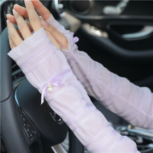 Summer Women Arm Lace Fingerless Gloves Thin Pearl Sleeve Arm Protection Gloves