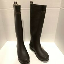 Henri Bendel brown tall rain boots size 6 striped lining women's shoes