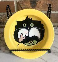 Debby Carman Cat Food Bowl Painted Black & White Yellow 2002 Boston Warehouse Co