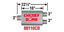 """CHERRY BOMB 88110cb VORTEX PERFORMANCE MUFFLER 3""""IN / OUT  CENTER/DUAL  22.5"""" L"""