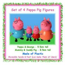 Set of 4 Peppa Pig figures figurines - George Daddy Mummy - cake toppers fondant