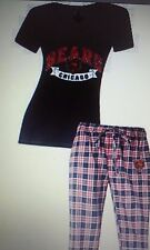 NFL for Her T-Shirt Top and Flannel Pant Pajama Set - Pick Size and Team