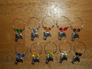 HORSE EQUESTRIAN Wine Glass Charms Marker set of 10 #2