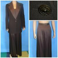St. John Evening Knits Brown Jacket Silk Pants L 10 12 2pc Suit Trims Sequins