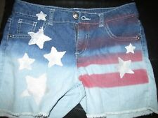 SO American Flag Cut Off Denim Shorts Size 16 Patriotic 4th of July USA W/2shirt