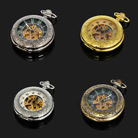 Vitage Type Black Silver Gold Bronze Skeleton For Mens Automatic Pocket Watch