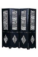 Black 4 Panel Leather Screen Room Divider w/ Zebra Print & Belt Buckle Accents