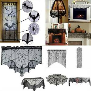 Lace Spider Curtain Table Cloth Cobweb Windows Door Covers Halloween Home Decor