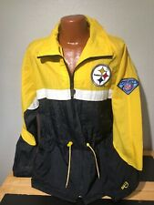 Mens Retro Pro Player Pittsburgh Steelers Full Zip Embroidered Jacket Large L