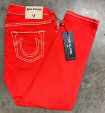 TRUE RELIGION WOMENS SIZE 26 LOW RISE SUPER SKINNY RED CAPRIS JEANS MADE USA NWT