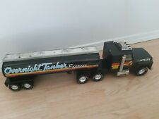 """Vintage Nylint Overnight Tanker Express Truck Black Freightliner Tanker 26"""" Long"""