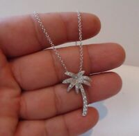 Sterling Silver Oxidized 2d Hawaii Palm Tree Pendant with Polished Box Chain Necklace