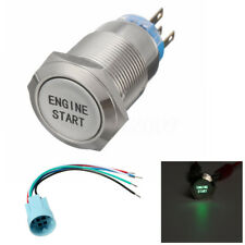 12V 19MM Metal Momentary Green LED ENGINE START Push Button Switch Socket Plug