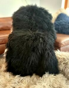 100%  Luxury Mongolian fur Throw/Rug Black  and available in other colours.