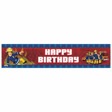 Fireman Sam Foil Banner Happy Birthday Holographic Children's Party Decorations