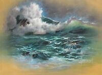 Beverly Hoebel, Listed California artist, Seascape with Crashing Waves & Gulls
