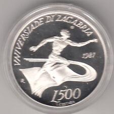 SAN MARINO 1987 LIRE 500  ARGENTO FONDO SPECCHIO UNIVERSIADI DI ZAGABRIA RARA